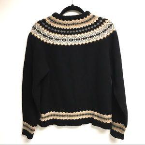 EDDIE BAUER Fair Isle Wool Sweater Black Tan L